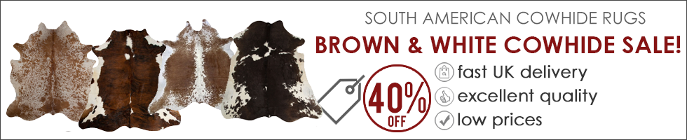 Brown & White Cowhide Rugs Sale