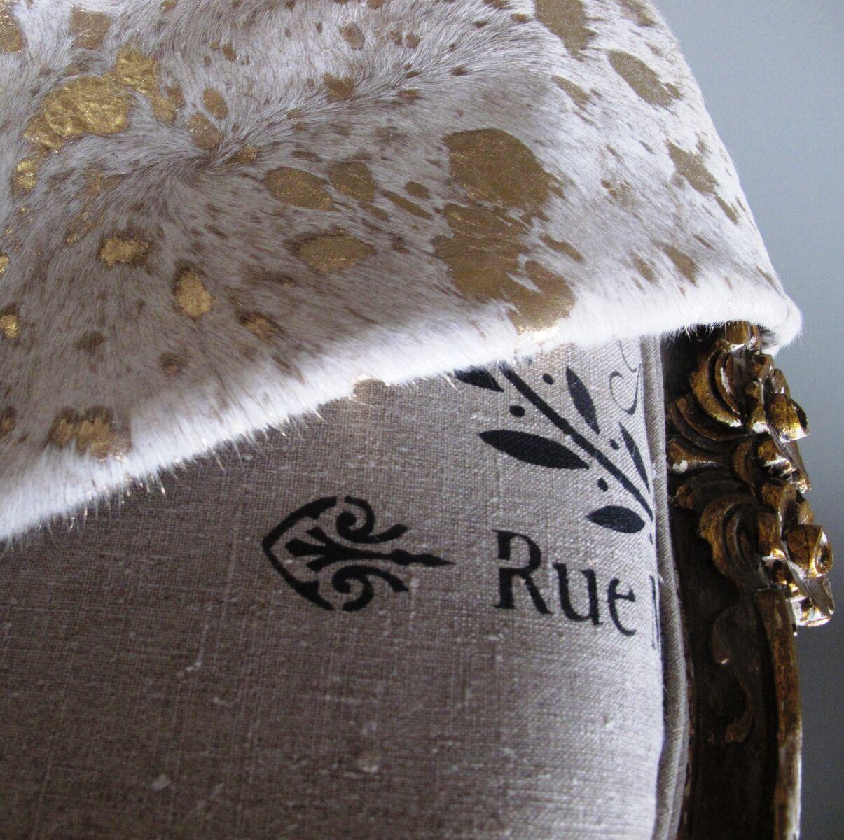 Gold Metallic Cowhide Rug Detail