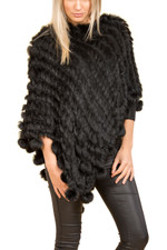Black Coney Fur Poncho (with pom poms)