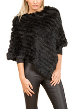 Black Coney Fur Poncho (without tassels) RF1018A-01