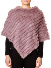 Dark Pink Coney Fur Poncho RF1018A-D05