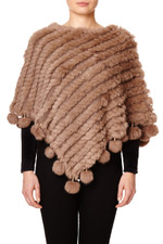 Light Mocha Coney Fur Poncho (with pom poms) RFD1019A-D09