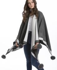 Cashmere Pom Pom Wrap in Mid-Grey CSRF6823A-03N