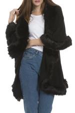 Faux Fur Wrap in Black KFP23A-01