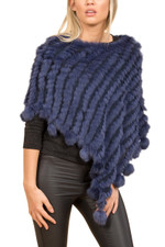 Navy Coney Fur Poncho (with pom poms) RFD1019A-07