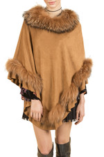 Fox Fur and Faux Suede Poncho in tan brown