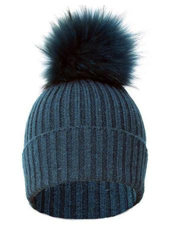 Teal and Silk Blue Fox Fur Bobble Hat FFDT19A-07M