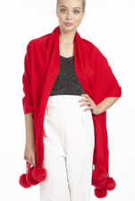 Cashmere and Silk Scarf with Faux Pom Poms in Red