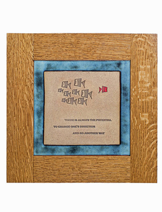 Fish Design Solid Oak Craftsman Style Frame Tiles