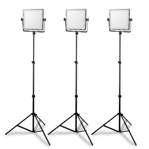 3 LED Studio Lights (CN-600SD) with 3 Light Stands