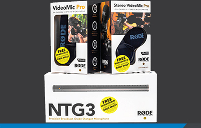 RODE giving away a free windshield with selected on-camera microphones