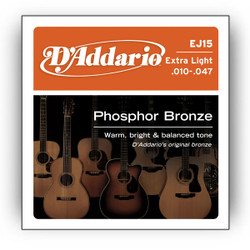 D'Addario EJ15 Phosphor Bronze Extra Light Acoustic Guitar Strings .010-.047