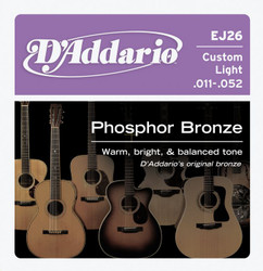 D'Addario EJ26 Phosphor Bronze Custom Light Acoustic Guitar Strings .011-.052