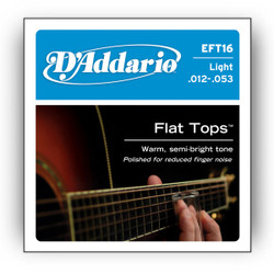 D'Addario EFT16 Flat Top Phosphor Bronze Light Acoustic Guitar Strings .012-.053