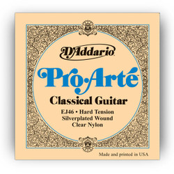D'Addario EJ46 Pro Arte Hard Tension Classical Strings Silver Plated Clear Nylon Guitar Strings