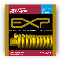 D'Addario EXP11 Coated 80/20 Bronze Light Acoustic Strings .012-.053