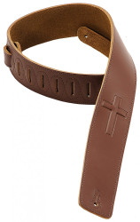 "Levy's DM1SGC-BRN  Leather Guitar Strap 2 1/2"" Christian Cross with Suede Backing Brown"