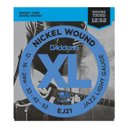 D'Addario EJ21 XL Nickel Jazz Light Wound Electric Guitar Strings .012-.052