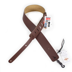 """Levy's M1 Leather Guitar Strap with Cream City Music logo 2 1/2"""" Brown"""