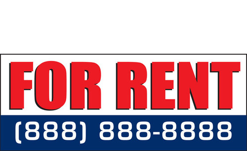 For Rent Sign Banner Red, White and Blue