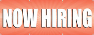 Now Hiring Vinyl Banner Sign with Orange Background and Bold White Letters