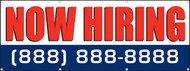 Now Hiring Banner Sign White Background with Red Lettering Personalized Phone Number Option Blue Background with White Lettering
