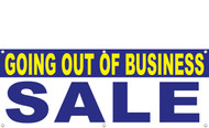 Going out of business vinyl banner with hem and grommets