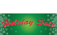 Green Holiday Sale Banner With Snowflakes Style 1400