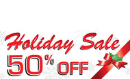 Red and White Holiday Sale 50% Off Banner Sign Style 2200