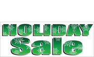 Bold Green Holiday Sale Banner with Snowflakes Detail Style 2600