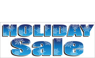 Bold Blue Holiday Sale Banner with Snowflakes Detail Style 2700