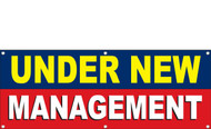Under New Management Banners Red, Blue, Yellow and White