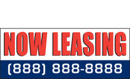 Now Leasing Outdoor Vinyl Banner Style 1100 with customizable phone number.
