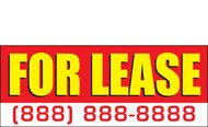 For Lease Banner Sign Style 2100-Red, Yellow-White
