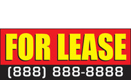 For Lease Banner design with customizing phone number. Red, Yellow and black style 2000