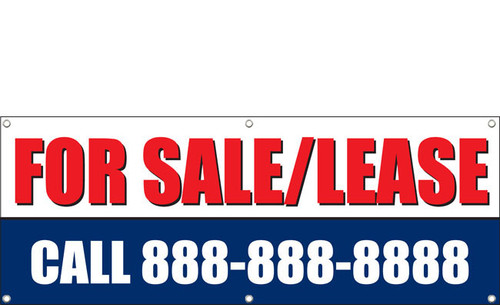 For Sale or Lease Banner with phone number