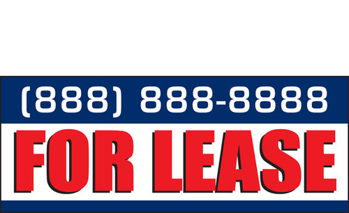 For Lease Banner Sign add phone number for free Style 2500