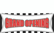 Grand Opening Banner Sign - Top Seller - Red, Black and White