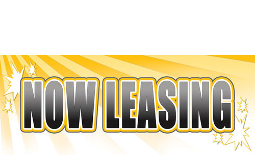 Now Leasing Outdoor Vinyl Banner Sign Style 1200 in full color printed.