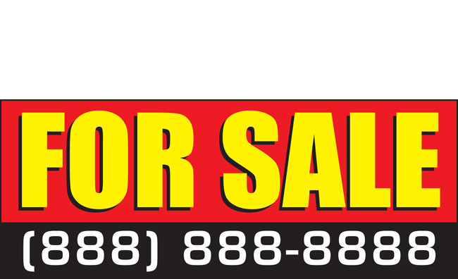 For Sale By Owner Yellow Background Black Red Vinyl Banner Sign With Grommets