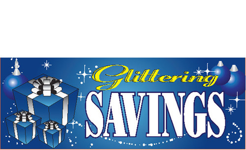 Glittering Savings Blue Holiday Season Sale Banner Sign Style 4000