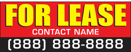 For Lease Banner Sign with personalized Phone Number and Contact Name Style 2700