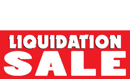 Liquidation Sale Banner Sign style 1500 in Red and White