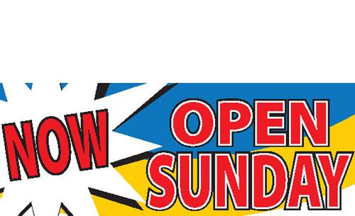 Now Open Sunday Vinyl Banner Design