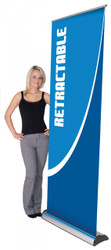 """Imagine 800 Retractable Banner Stand 31.5"""" wide single-sided with tension control, removable & interchangeable graphic cassette, form molded bag and telescopic pole"""