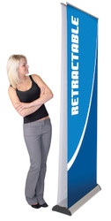"""Advance Double Sided Retractable Banner Stand 33.5"""" wide tension control, removable & interchangeable graphic cassette, form molded bag and telescopic pole ADV-800-S"""