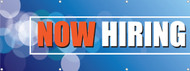 Now Hiring Banner Sign Sky Blue Background with Bold Orange and White Lettering