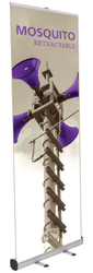 """Mosquito 800 Retractable Banner Stand 31.5"""" wide Silver, bungee pole, snap top graphic rail and padded bag"""