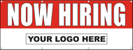 Now Hiring Vinyl Banner Sign with Horizontal Your Company Logo Red Background with Bold White Lettering and Your Rectangle Custom Logo