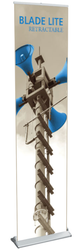 """Blade Lite 400 Retractable Banner Stand 15.75"""" wide single-sided banner stand, 4-piece pole and padded bag"""